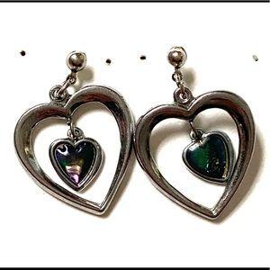 Vintage Heart Dangle Earrings Silver
